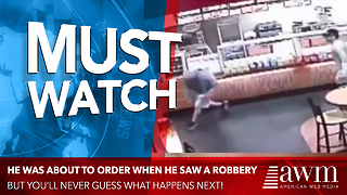 Customer About To Order Food Sees Robbery Underway, Teaches Criminal A Painful Lesson - Video