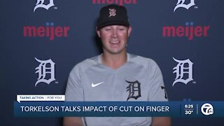 Spencer Torkelson explains how a he cut his finger without a can opener