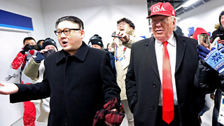 Donald Trump & Kim Jong Un Impersonators CRASH the 2018 Winter Olympics Opening Ceremony - Video