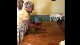 Grandma Schools Jocks Playing Beer Pong, Leaves Daughter Hanging in the Process - Video