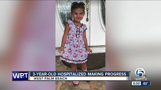 Hospitalized 3-year-old making progress