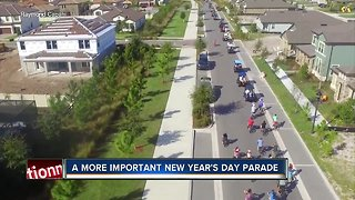 Pasco neighborhood throws New Year's Day parade to honor girl with leukemia