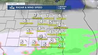 Sprinkles and flurries forecasted to continue into Tuesday morning