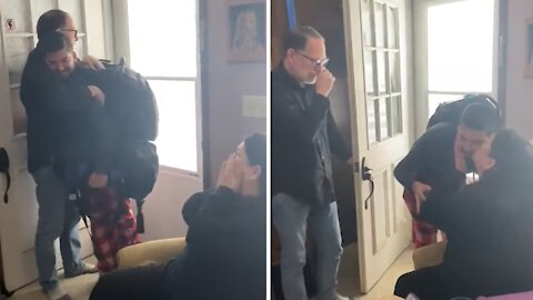 Parents completely shocked when son surprises them for Christmas