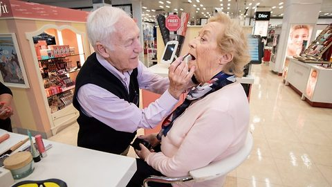 Doting 84 year old husband finally masters make-up skills to help partially blind wife