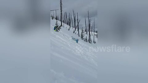 Snowmobile rider gets taken out by own sled