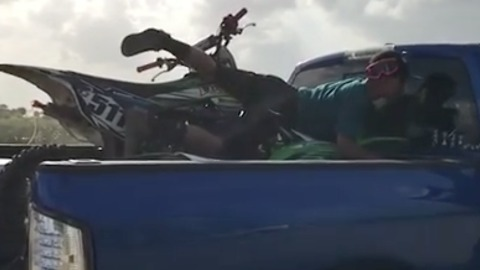 That's one way to pack up your motobike after