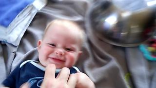 Little Boy Gets Tickle Attack To The Jaws Theme Song