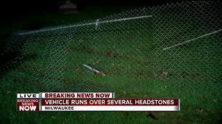 Car crashes into cemetery on Milwaukee's northwest side - Video