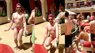 Lad hilariously shows moves in Vegas pool party dance off - Video