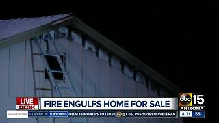 Fire engulfs home for sale in Glendale - Video