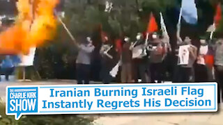 Iranian Burning Israeli Flag Instantly Regrets His Decision