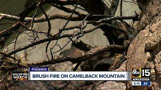 Brush fire threatens homes on Camelback Mountain in Phoenix - Video