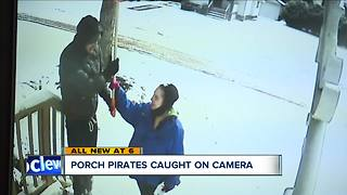 Home security camera catches porch pirates amidst neighborhood-wide crime spree - Video