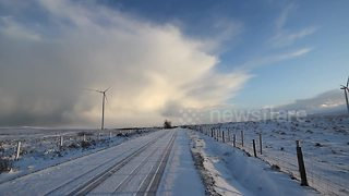 N Ireland blanketed white after snow and hail storm - Video