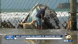 Navy searching for owner of abandoned boat