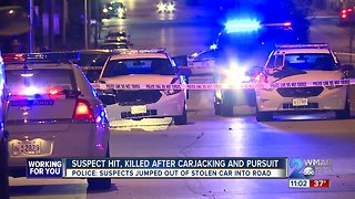 Carjacking suspect struck, killed by police car after chase