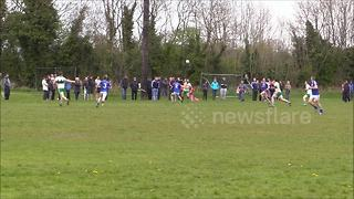 Gaelic football player knocked out by BIG hit - Video