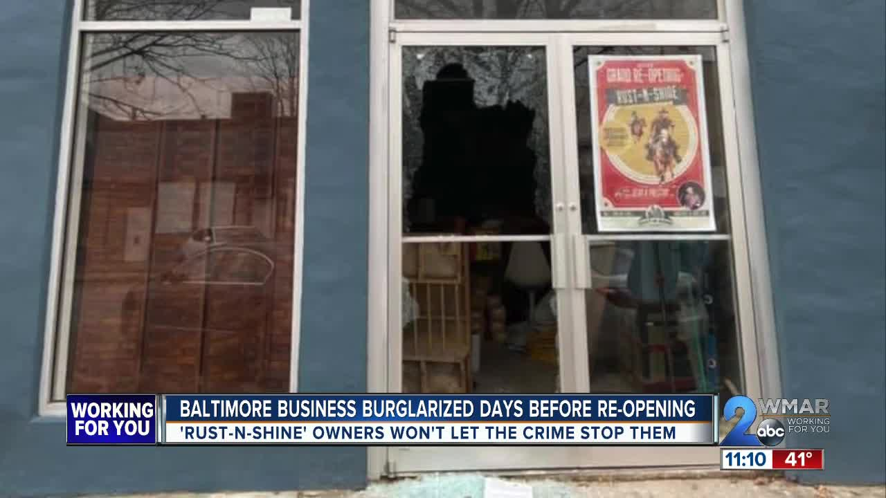 Baltimore business burglarized a week before the grand re-opening