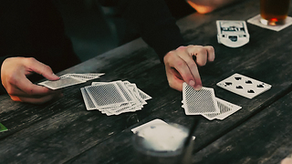 Shuffled deck, randomly chosen stacks reveal the last hidden card.So simple and effective, it'll fool yourself. - Video