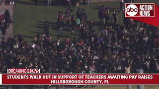Students across Hillsborough County stage walk outs in support of teacher pay raises | Action Air 1 - Video