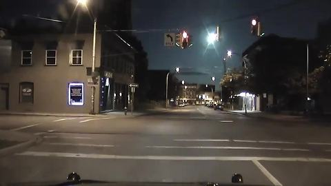 Massive fireball caught on police dash cam