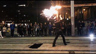 Amazing street performance with fire