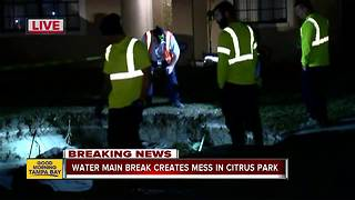 Water main break causes 10-foot hole in Citrus Park neighborhood - Video