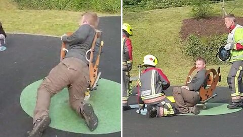 Off His Rocker! Dad Gets Stuck In Spring Rocker And Has To Be Rescued By Fire Brigade