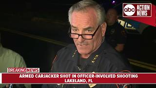 Officer shoots armed carjacker in Lakeland | 5AM Press Conference - Video