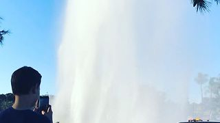 Geyser Erupts in Misson Valley After Truck Hits Fire Hydrant - Video