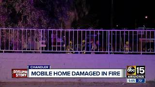 Fire destroys mobile home in Chandler - Video
