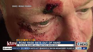 Road rage rock-throwing injures Las Vegas Man - Video