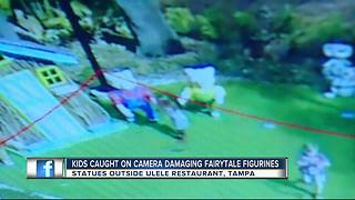 Children caught on camera destroying Three Little Pigs display in Tampa - Video