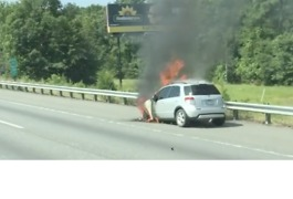 Car Fire Slows Traffic North of Richmond - Video
