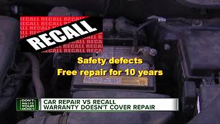 Car repair vs. recall warranty doesn't cover repair - Video