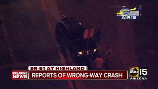 Wrong-way driver causes cars to collide near SR-51 and Highland - Video