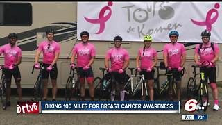 Man bikes 100 miles for breast cancer awareness - Video