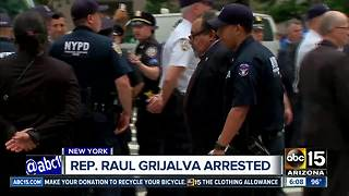 AZ Rep. Raul Grijalva arrested during protest in NY - Video