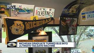 University of Michigan graduate turned bus into ultimate tailgate machine - Video
