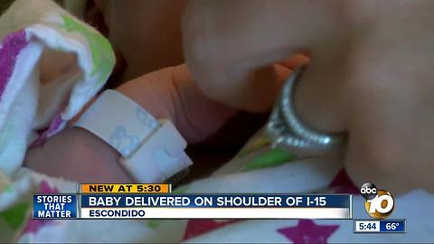 Woman gives birth on side of I-15