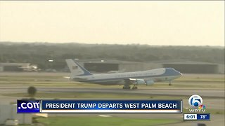 President Trump departs West Palm Beach one day earlier than originally scheduled