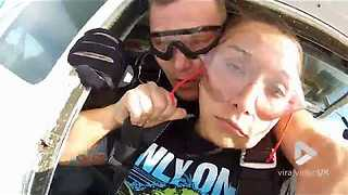 False Tooth Decides To Break Free From Girl's Mouth Mid-Skydiving - Video
