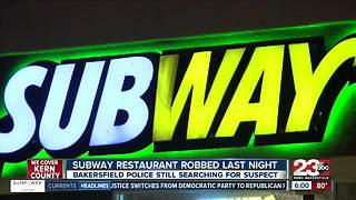 Local Subway restaurant robbed at gunpoint on Thursday - Video
