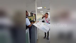 Man flashes MASSIVE boarding pass to airline staff