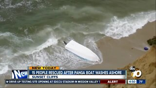 15 people rescued after panga boat washes ashore