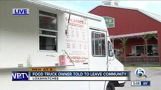 Food truck owner told to leave community - Video