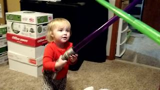 Little girl is a young Jedi in training - Video