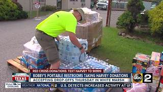 Bobby's Portable Restrooms stepping up for Harvey victims in White Marsh - Video