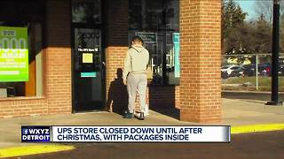 UPS store with Christmas gifts inside closed until after the holiday - Video